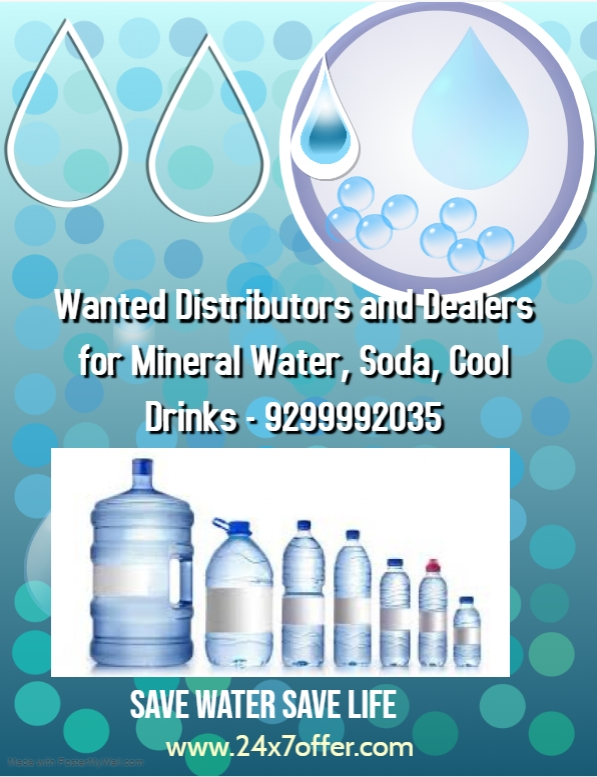 Wanted Distributors and Dealers for Mineral Water, Soda, Cool Drinks